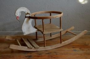 Cygne à bascule ancien jouet en bois déco oiseau thème chambre enfant vintage cadeau