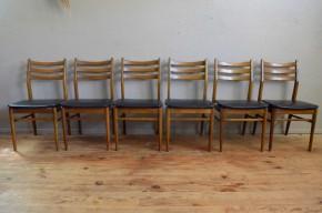 Chaises vintage série lot de 6 six pièces teck skaï noir minimaliste scandinave décoration mobilier nordique