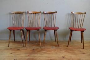baumann, travail français, bistrot, années soixante, dossier, éventail, chaises, lot, série,, anciennes