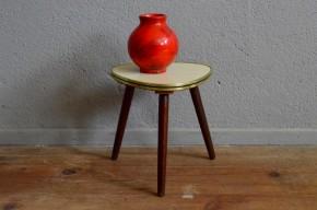 Table tripode vintage piétement compas formica chêne dînette guéridon déco chinée accessoire