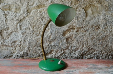 Lampe cocotte de bureau de table à poser applique modulable vintage années 1950 verte french modernist