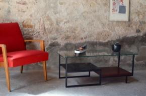 Table basse Georges Frydman EFA moderniste design travail français après guerre le corbusier low table