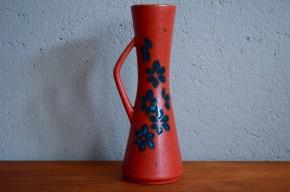 Vase àanse pichet années 60 soixante vintage flower vase art germany signé Bay design allemand rouge fat lava