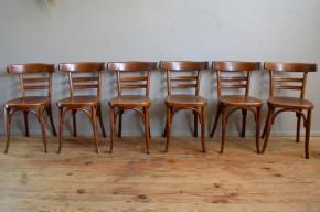 Chaises de cuisine ou de salon anciennes vintage bistrot Fischel série lot de 6 six