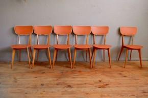 Chaises vintage bistrot rockabilly pieds compas design années cinquante skaï beige  pop rétro vitaminée déco lot série de 6 six