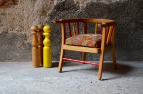 Chaise fauteuil pot enfant Baumann vintage rétro années 50 scandinave ancien tissus tapissé