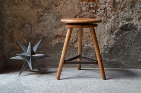 Tabouret de d'atelier Artisan ancien meuble de métier Horloger pivotant bois et métal