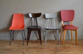 Rétro années 50 60 mix and match dépareillées french brocante formica bistro chaises skai fantasia coques plastique