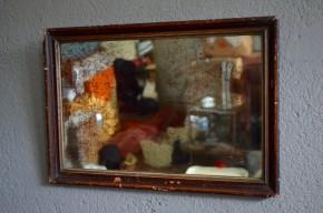 Miroir ancien mercurisé  patiné vintage rétro bohème vieux décoration murale ancienne