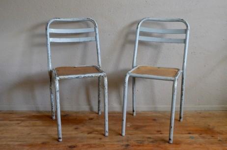 Chaise en métal et bois vintage rétro  bauhaus art déco indus atelier genre tolix