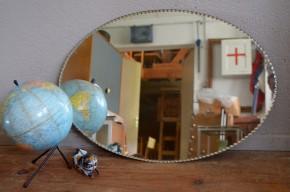 Miroir biseauté vintage rétro années 40 bohème art déco ovale shabby chic décoration ancienne