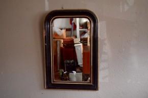 Miroir Louis Philippe noir et or rétro bohème années 1930 patiné  brocante french ancien