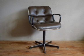 Fauteuil siège de bureau  de Charles Pollock design international knoll pivotant cuir