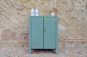 Meuble d'atelier fonderie gris vert métal style indus atelier garage industriel vintage 3 tiroirs tôle acier