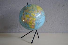 Globe terrestre tripode carton ancien vintage déco géographie bureau enfant décoration Michard Pris