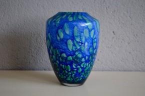 Vase Passavant La Rochère art nouveau pâte de verre bleu vert école de nancy déco fleurs