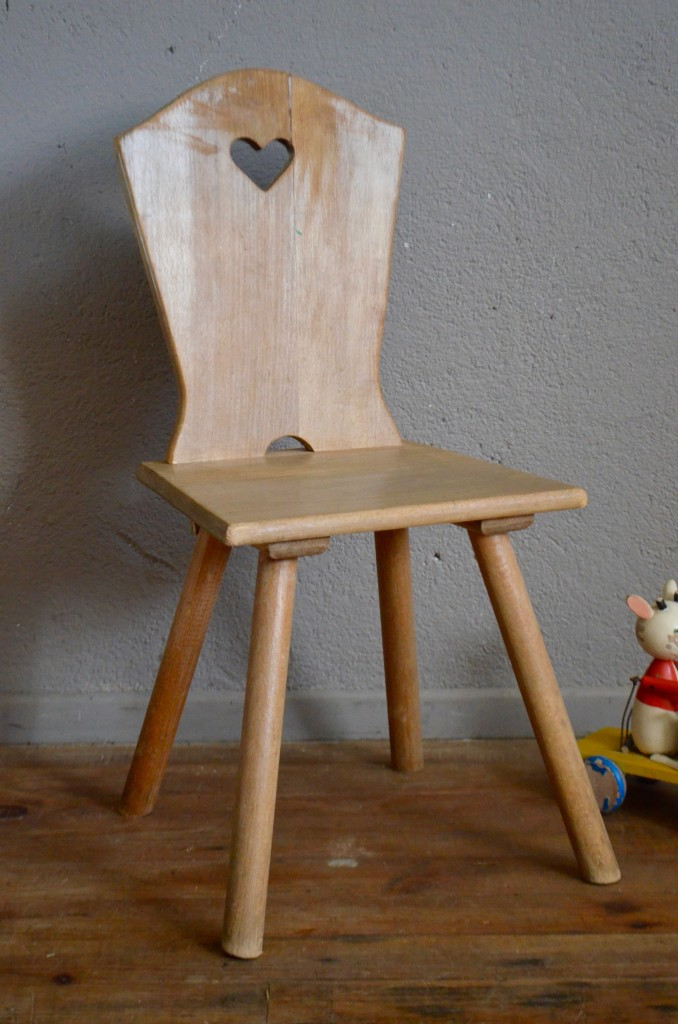 Chaise Enfant Vintage Retro Rustique Annees 50 Coeur Pieds Compas Fifties Bois Wooden Kid Chair French