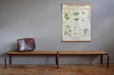 Banc école vintage rétro années 50 piétement tubulaire doré patine indus mobilier scolaire