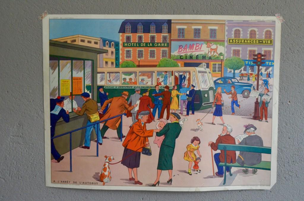 """Affiche scolaire """"L'arrêt de bus-le jardin au printemps"""""""