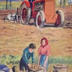 Affiche scolaire Thèmes : Le match de football les travaux d'automne vintage poster pédagogique salle de classe décoration