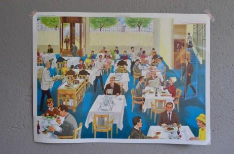 Affiche scolaire Thèmes :  Le Restaurant - L'Hopital vintage poster pédagogique salle de classe décoration docteur métiers