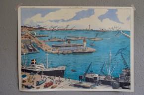 Affiche scolaire Thèmes :  Le port fluvial le port maritimel vintage poster pédagogique salle de classe décoration bateau mer marin