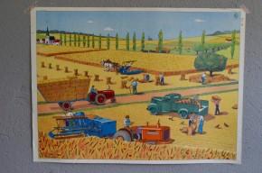 Affiche scolaire : Le bord de la rivière et les moissons  : panneau école Rossignol Nathan tableau d'élocution vintage rétro déco
