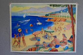 Affiche scolaire : vancances en bord de mer les bohémiens  : panneau école Rossignol Nathan tableau d'élocution vintage rétro déco