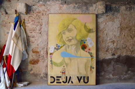 """Toile peinture """"Déjà vu"""" Nicolas Deconinck artiste peintre technique mixte vintage rétro technicolor poésie tableau art french artist painting contemporain grande dimension"""