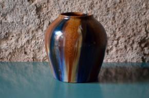 Vase grès flammé reflets métallisés art nouveau elchinger 1900 signé céramique alsace poterie