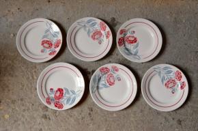 Assiettes plates série lot de 6 vintage art déco fleurs bicolore  Faïencerie Nouvelle de GIVORS FRANCE