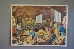 Affiche scolaire : menuisier poissonnerie les métiers : panneau école Rossignol Nathan tableau d'élocution vintage rétro déco