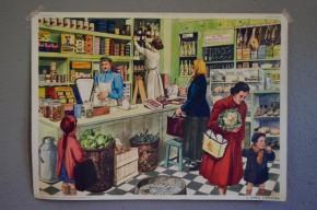 Affiche scolaire : boulangerie boulanger épicerie épicier les métiers : panneau école Rossignol Nathan tableau d'élocution vintage rétro déco