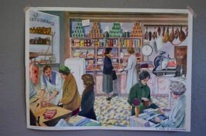 Affiche scolaire la toilette - le charcutier Affiche scolaire panneau école Rossignol Nathan tableau d'élocution vintage rétro déco