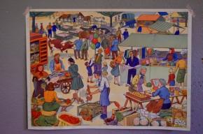 """Affiche scolaire """"La foire - La chasse""""  panneau école Rossignol Nathan tableau d'élocution vintage rétro déco"""