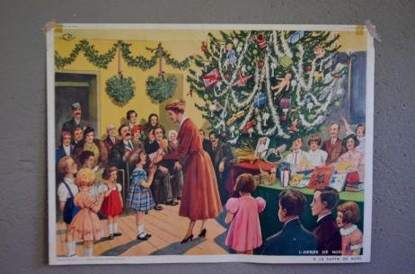 """Affiche scolaire """"L'arbre de Noël La fleuriste""""  poster scolaire panneau école Rossignol Nathan tableau d'élocution vintage rétro déco"""