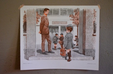 Affiche scolaire panneau école Rossignol Nathan tableau d'élocution vintage rétro déco murale chambre d'enfant l'école le verger chute pomme