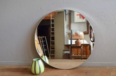 Miroir rond vintage minimaliste décoration murale ancien chrome métal sobre élégant