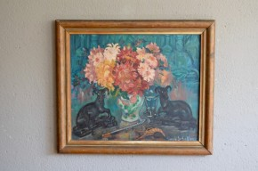 Huile sur toile de Gwenn le Galienne. Etat moyen, traces de fortement sur la toile. Le tableau surréaliste est signé et encadré.