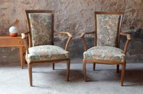 Paire de fauteuil cabriolet ancien style composite shabby chic bohème à accoudoir petite taille charmant esprit boudoir