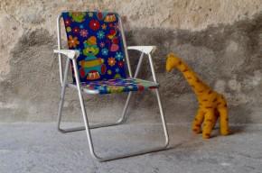 Transat chaise longue chilienne enfant fauteuil de plage vintage rétro années 60 bleu motif vintage poupée