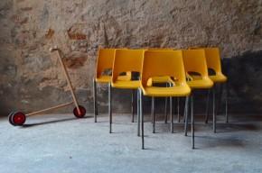 chaise, scolaire, plastique, moulé, abs, design, enfant, jaune, vintage, seventies
