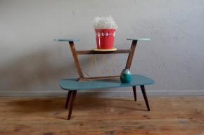 Porte-plantes vintage rétro pop formica sixties table présentoir custom rénové gris vert jaune mini table