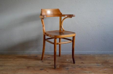 Fauteuil de bureau ancien administration années cinquante maître d'école bois courbé type baumann