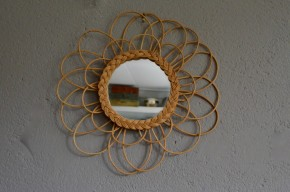 Miroir rond rotin osier vintage rétro années 60 shabby  bohème sunburst mirror seventies tendance déco