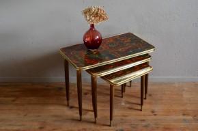 Tables gigognes vintage lot de 3 tables basses fat lava motif pieds fuseaux laiton accessoire décoration salon bout de canapé