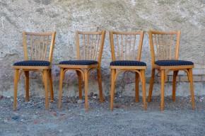 Pièces classiques du mobilier vintage, ces petites chaises bistrot étaient une production des ateliers franc-comtois Baumann. Leur dessin est aussi simple que charmant, nous apprécions particulièrement les barreaux du dossier qui partent en éventail et l'assise rembourée de velour rayé. On les imagine dans un restaurant ou un bar à vin à l'esprit rétro ou donnant un petit air vintage à une cuisine colorée et vivante.