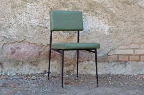 Chaise chauffeuse siège de bureau tubulaire skaï vert vintage années cinquante