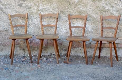 Lot de 4 chaises de brasserie bistrot style rustique rétro campagne bois massif chalet