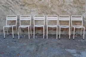 Lot de 6 chaises Tolix anciennes Xavier Pauchard Authentiques métal indus Vintage cuisine série blanche crème